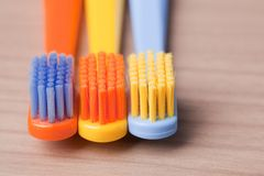 Color toothbrushes Stock Photos