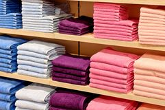 Color towel stock. A lot of colored towels stock images
