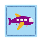 Color toy airplane fly picture icon Royalty Free Stock Image