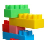 Color toy brick construction. Isolated over white Stock Photos