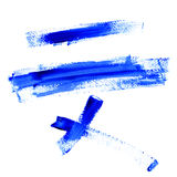 Color Traces Line of Blue Paint isolated on white Stock Photos