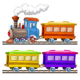 Color trains and wagons Stock Photo