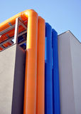 Color transit pipe on the building Royalty Free Stock Image