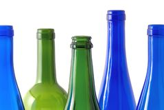 Color transpatent wine bottles. Color transparent wine bottles as background Royalty Free Stock Photography