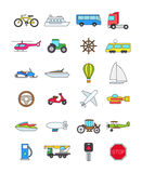 Color transport icons set. Set of 24 color transport icons Royalty Free Stock Photography