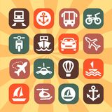 Color transportation icons Royalty Free Stock Photos