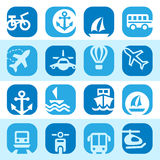 Color transportation icons set Royalty Free Stock Photo