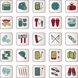 Color travel and camping icons set Royalty Free Stock Images