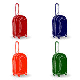 Color travel suitcase with wheels realistic on white background. Royalty Free Stock Image