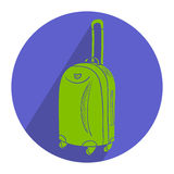 Color travel suitcase with wheels realistic on white background. Royalty Free Stock Photos