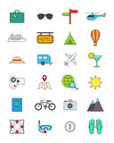 Color traveling icons set. Set of 24 color traveling icons Royalty Free Stock Photo