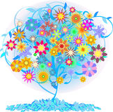 Color  tree. Blue  tree with flowers Royalty Free Stock Images