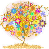 Color  tree. Yellow  tree with flowers Stock Image