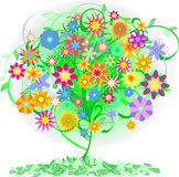 Color  tree. Green  tree with flowers Royalty Free Stock Images