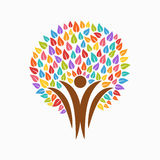 Color tree people symbol for community team help Stock Photos