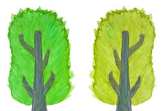 Color Tree in watercolor hand painted Royalty Free Stock Images