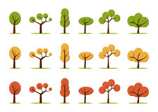 Color trees set. In three colors Stock Photo