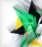 Color triangles, unusual abstract background. Realistic paper 3d composition with shadows and glossy elements, origami concept layout Royalty Free Stock Images