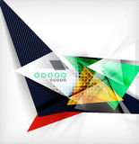 Color triangles, unusual abstract background. Realistic paper 3d composition with shadows and glossy elements, origami concept layout Royalty Free Stock Photo