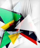Color triangles, unusual abstract background. Realistic paper 3d composition with shadows and glossy elements, origami concept layout Royalty Free Stock Photos