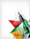 Color triangles, unusual abstract background. Realistic paper 3d composition with shadows and glossy elements, origami concept layout Royalty Free Stock Image