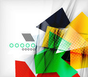 Color triangles, unusual abstract background. Realistic paper 3d composition with shadows and glossy elements, origami concept layout Stock Image