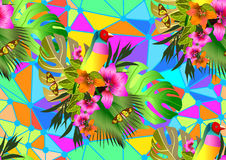 Color Tropical Flowers And Leaves Seamless Background Royalty Free Stock Image