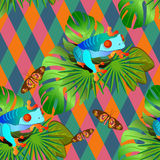 Color tropical flowers and leaves seamless background Royalty Free Stock Images