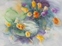 Color tulips on green violet background watercolor Royalty Free Stock Photo