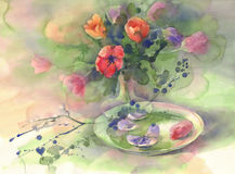 Color tulips with plate watercolor. Color tulips bouquet on green background hand made watercolor. Still-life with glass plate Stock Photo
