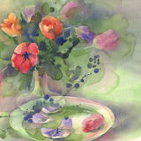 Color tulips with plate watercolor. Color tulips bouquet on green background hand made watercolor. Still-life with glass plate royalty free illustration