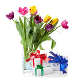 Color tulips and presents isolated on white Stock Images