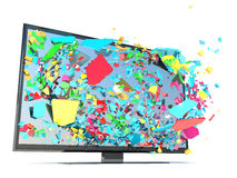 Color TV and splinters Stock Photos