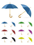 Color umbrella. Realistic stylish color umbrellas on white background vector illustration