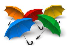 Color umbrellas. Set of color umbrellas isolated over white background Royalty Free Stock Photos