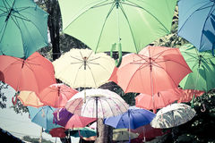 Color umbrellas hanging in the air in park Royalty Free Stock Photo