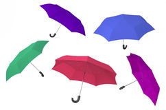 Color umbrellas. Isolated on white background Stock Photos