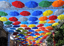 Color umbrellas in the sky, St. Petersburg. Russia  umbrellaskyspb Royalty Free Stock Photography