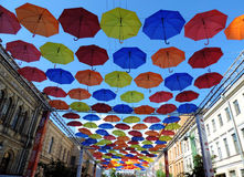 Color umbrellas in the sky, St. Petersburg. Russia  umbrellaskyspb Royalty Free Stock Photo