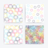 Color universal geometric seamless patterns set. In pointillism style. Endless vector texture collection can be used for wrapping wallpaper, pattern fills, web vector illustration
