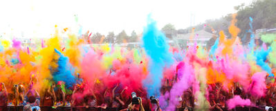 Color Up Run. ISTANBUL, TURKEY - MAY 17, 2015: People gather and have fun in Kurucesme Arena after Color Up Run, Istanbul Stock Images