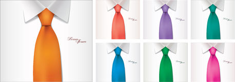 7 color variables of shirt and tie illustration Stock Photo