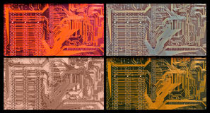 Color variants of printed circuit Royalty Free Stock Photos