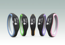 Color variation of smart wristbands.  Stock Photography