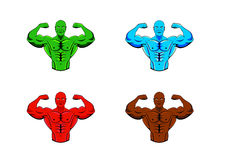 Color variations of bodybuilder, strong muscular man, athlete or fighter. Four color variations of bodybuilder, strong muscular man, athlete or fighter Royalty Free Stock Image