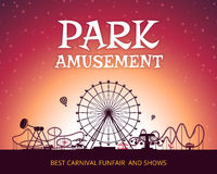 Color vector background of amusement park. Poster design with place for your text. Park carnival circus, funfair poster, amusement park banner illustration Stock Image