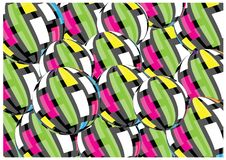 3D vector retro balls background. Color vector background of 3D striped balls. Abstract colorful vector background wf dimensional balls with lines vector illustration