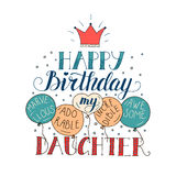 Color vector birthday card for daughter.