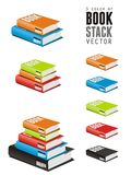 5 color of vector book stack. Isolated white Vector book stack illustration Royalty Free Stock Image