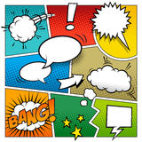 Color Vector Comic Book Page. A high detail  mockup of a typical comic book page with various speech bubbles, symbols and sound effects, with various color Stock Photography